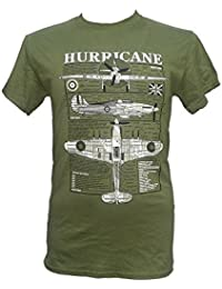 Hawker Hurricane Fighter Plane - British Aircraft / Military T Shirt with blueprint design