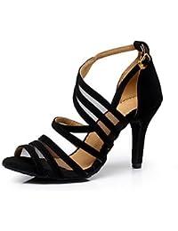 Silencio @ la nieve Artificial, nieve artificial, zapatillas/danza Latina/Salsa Zapatos de baile de las mujeres sandalias Stiletto heelpractice, negro, US6.5-7 / EU37 / UK4.5-5 / CN37