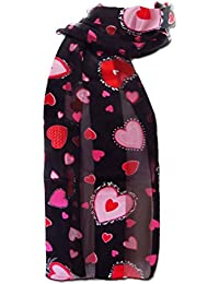 New Company Womens Cupid Valentines Day Hearts Scarf Ð Black Ð One Size