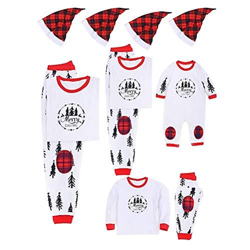Zhhlinyuan Mamá Pequeño Papá Familia Pareo Ropa Navidad Conjunto de Pijamas Loungewear Manga Larga y Pantalones