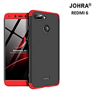 Johra® 3 in 1 Detachable Anti-Scratch PC Hard Case 360° Full Body Shockproof Protection Back Case Cover Xiaomi Mi Redmi 6 - Black & Red
