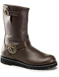 Demonia Steam - gotica Steampunk biker piel botas zapatos unisex - tamaño 39-46, US-Herren:EU-43 (US-M10)