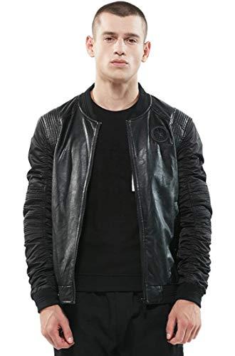Amoystyle Herren Bomberjacke aus Leder, modisch, mittelschwer - Schwarz - Brust : 86 cm Small (Baseball-geschenke Für Teen Boys)