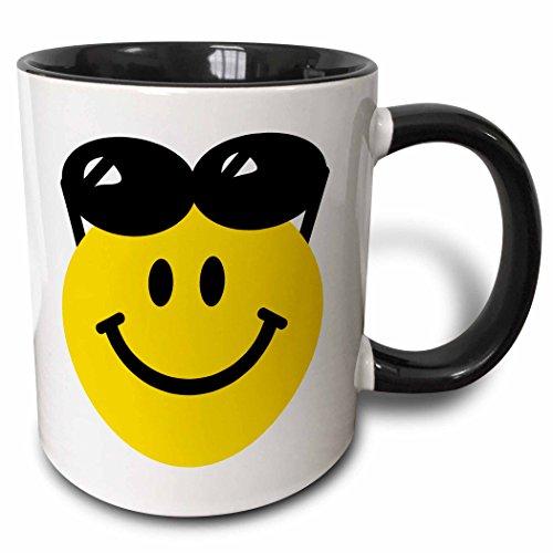 3dRose Smiley, mit Sonnenbrille on Top of Head-Summer Happy Cartoon-Summery Sunny cool-Two Tone Black Cute Becher, Keramik, Schwarz/Weiß, 10,16x 7,62x 9,52cm
