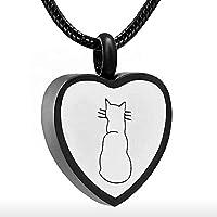NWZW Gato Colgante Mini Urna para Ceniza Cremación De Mascota Colgante Conmemorativo Joyería De Cremación,Black
