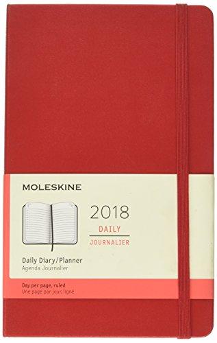 Moleskine Agenda Giornaliera, 12 Mesi, Large, Copertina Rigida, Rosso Scarlatto