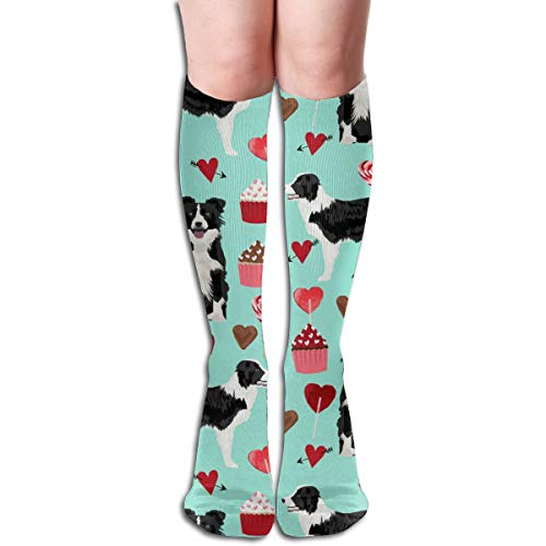 Stocking Border Collie Valentines - Love Hearts Cupcakes Valentines Day Border Collies - Aqua Multi Colorful Patterned Knee High Socks 19.6Inchs ()