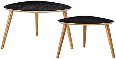 Bloomingville Table basse design noire bois bambou set 2