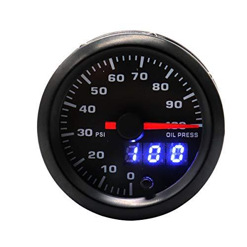 Vosarea Modifizierte Auto Auto Instrument 12 V 2 Zoll 7 Farbe Hintergrundbeleuchtung einstellbar 0-100psi Öldruckanzeige Auto Meter (schwarz)