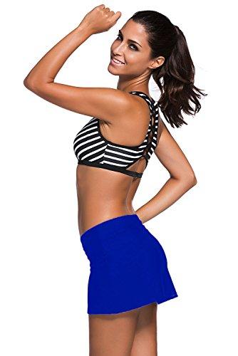 Aleumdr Damen Baderock figuroptimierender Strandrock UV Schutz Wassersport Bikinirock Badeshorts Skorts Royalblau X-Large -