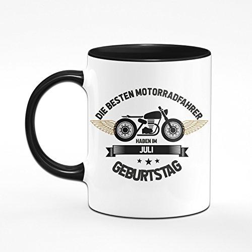 Motorrad Tasse Motrradfahrer haben im Juli Geburtstag - Geschenk für Motorradfahrer, Motorradfans - Geburtstagsgeschenk/Geschenkideen für Männer - Monat wählbar (Juli) - 2