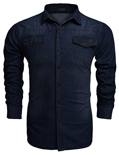 Burlady Jeanshemden Herren Langarm Denim Hemden Freizeit Shirts Regular Fit Hemden A-Dunkelblau