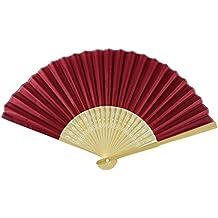 Rangebow SHF06 Rosso scuro confezione da 10 all'ingrosso tessuto di seta a mano Fan di bambù costole favore partito di nozze …