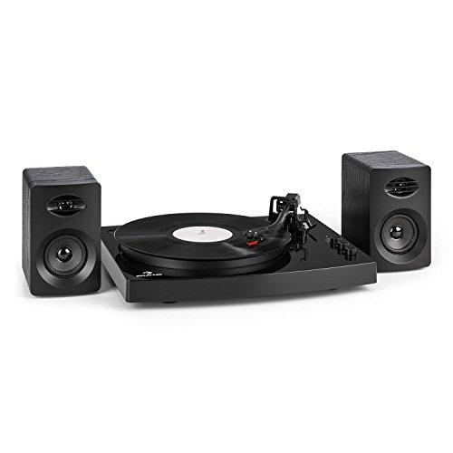 auna TT-Play • Plattenspieler-Set • Plattenspieler • mit 2 Stereolautsprecher • laufruhiger Riemenantrieb • Keramik-Tonabnehmer • Pitch Control • 33 1/3 und 45 U/min • Bluetooth 4.2 • schwarz