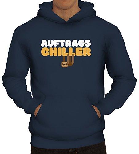 ShirtStreet Faultier Kapuzenpullover mit Auftrags-Chiller Motiv, Größe: S,Navy
