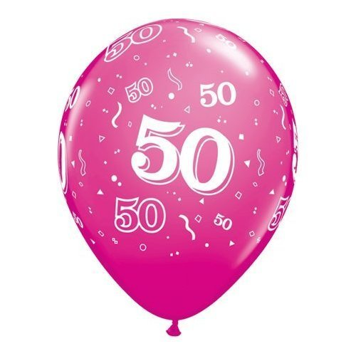 5 x Qualatex High Quality 50th Party Balloons