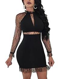 MYWY - Abito donna sexy vestito party maniche lunghe velate dettaglio  strass girocollo eb0b4154a03