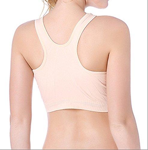 Cliont Soutien-gorge de sport pour femme Fort impact Front Zip Fitness Workout Yoga Running Bra Beige