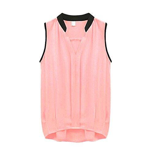 Yalatan Casual Women Lady Summer Sleeveless Chiffon Vest Blouse Top Rosa