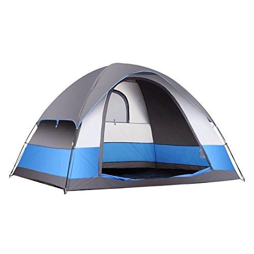 Semoo Campingzelt für 5 Personen Wasserfest 3 Jahreszeiten sichelförmiger Einfang sehr leichtes und Robustes Familienzelt mit Transporttasche für Camping Wandern Ausflüge, Farbe blau und grau