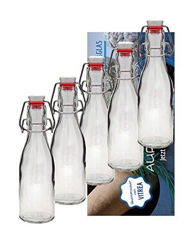 8er Set Bügelflaschen Bügelflasche Glasflaschen 200ml mit Bügelverezschluss zum Selbstbefüllen Saftflaschen Bierflaschen Milch Likör Vitrea