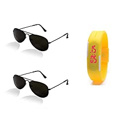 Younky Sunglasses For Mens (Black Aviator-Yellow Led) (Cmbo-Yllw-001)
