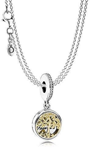 Pandora Silber-Halskette mit Anhänger Familien-Stammbaum 08381