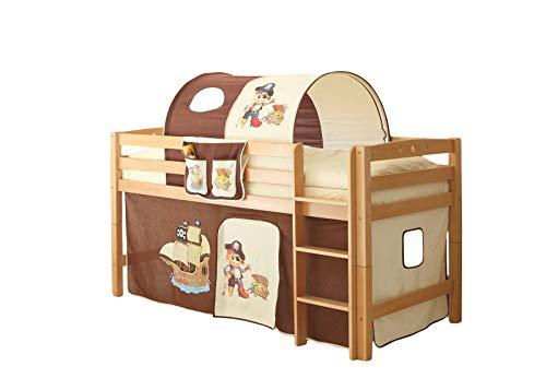 Jugendmöbel24.de Hochbett Joy inkl Vorhang 100% Baumwolle Buche massiv TÜV EN 747-1 + 747-2 Kinderbett Spielbett Massivbett Kinderzimmer Bett Holzbett