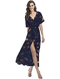 76779dfc15e Luojida Femme Robe de Plage Bohême Longue Manche Courte Floral Sexy Bas  Irrégulière Plissée Robe de