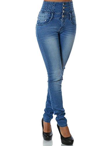 Damen Jeans Skinny (Hochschnitt Röhre) No 14020, Farbe:Blau;Größe:34 / XS