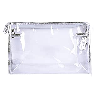 Sealike Waterproof Clear Transparent Pvc Cosmetic Bag Organizer Makeup Bag Pouches Bag Tote Bag For Travel With Stylus (Silver)
