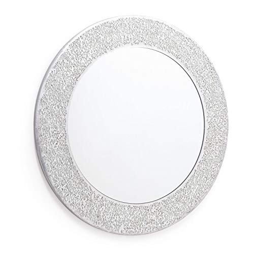 Home Treats Round Crackle Wall Mirror Handmade Glass Mosaic Silver Frame 40 x40cm New ...