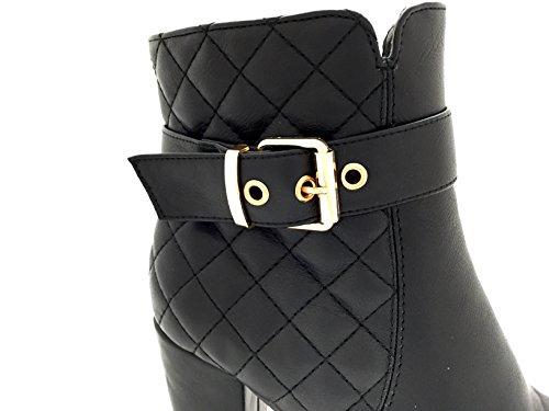CHIC NANA . Chaussure femme bottine à talon, en similicuir matelassé. Noir