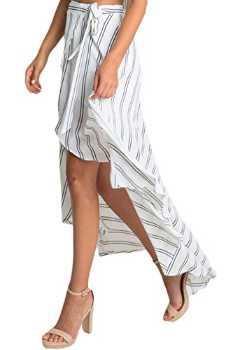 Deargirl Damen A-Linie Rock White Stripe Print