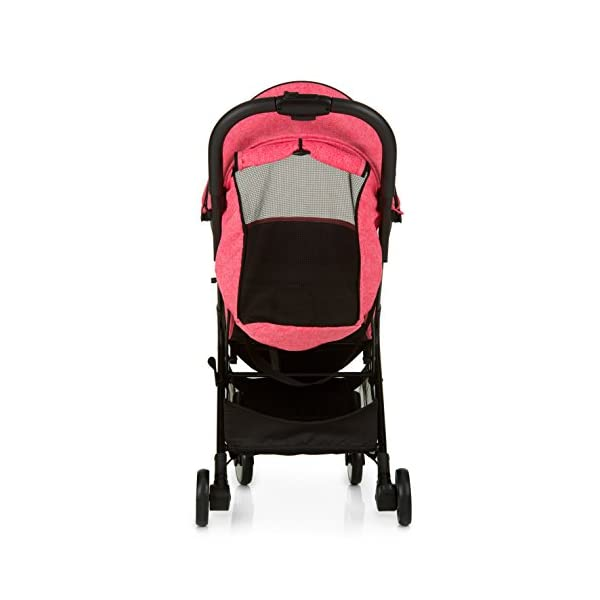 Hauck Swift One Hand, Compact Fold Pushchair with Raincover, Melange Pink/Black Hauck A sporty stroller with one-hand folding mechanism The comfortable seat has an adjustable backrest and adjustable footrest down to lying position - ideal even for newborns Lightweight aluminium frame - only 6.4kg 6