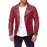 RF-Herrenbekleidung Herren Jacke männer - Pelzmantel, Herbst - Winter -, Mode - Revers Lederjacke,Rot - rot,L