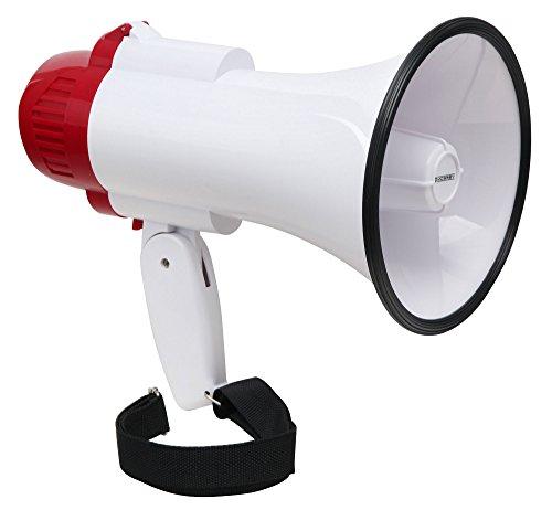 McGrey MP-100RS Megaphon (Sprachrohr, 10 Watt RMS/30 Watt MAX, bis zu 500m Reichweite, Aufnahme/Wiedergabe-Funktion, Sirene, batteriebetrieben) weiß/rot