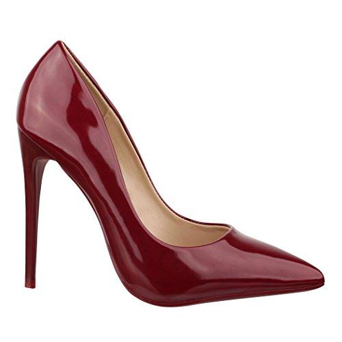 Elara Spitze Damen Pumps | Bequeme Lack Stilettos | Elegante High Heels B-1 Wine-37
