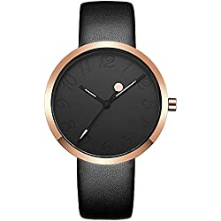 Fashion Simple Design Kleid-Uhren Pu Leder Uhrenarmband Quarz Armbanduhren Für Damen Armbanduhren Für Mädchen, Schwarz
