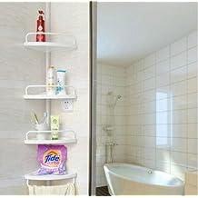 Weiß 4 Etagen Verstellbare Eckregal Dusche Badezimmer Teleskop Regal Caddy
