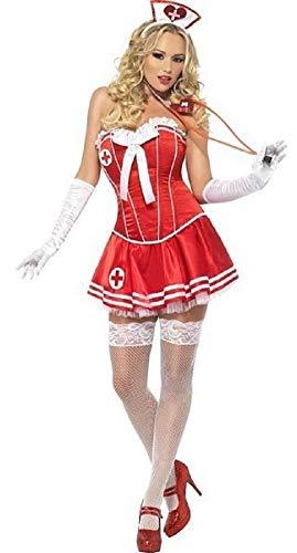 Fancy Me Damen Sexy Korsett Tutu Krankenschwester Junggesellinnenabschied Kostüm Kleid Outfit UK 8-18 - Rot, UK (Junggesellinnenabschied Kostüme Uk)