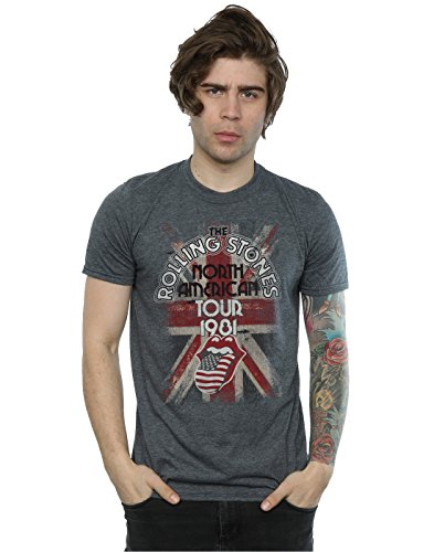 Rolling Stones Herren Union Jack American Tour T-Shirt XX-Large Dunkle Heather (T-shirt Union Heather)
