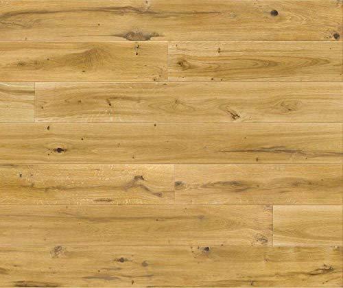 HORI® Klick Parkett 300 Dielenboden Parkettboden Eiche Vintage Landhausdiele matt versiegelt gebürstet Lang I Eiche I 7 Dielen im Paket = 2,00 m²