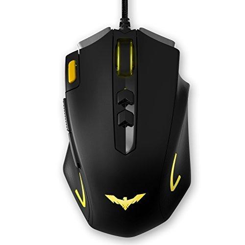 HAVIT LED Gaming Maus, 3200DPI 6 Tasten und 7 beruhigenden LED-Farben (MS672) (Gelb)