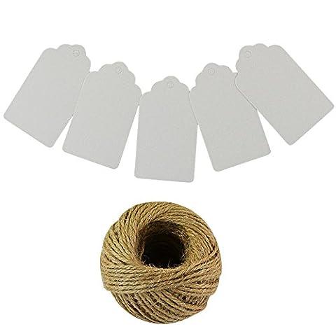 Etiquette Kraft, Ishua 100Pcs Blan Etiquette Papier Kraft avec Cordon Chanvre pour les Cadeaux/les Valises/les Mariages/les Prix