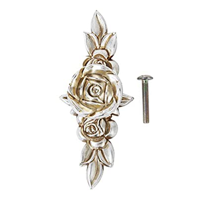 2Pcs of Rose Pattern Furniture Cabinet Drawer Door Knob Pull Handle 103mm Antique Silver produced by BeautyLife - quick delivery from UK.