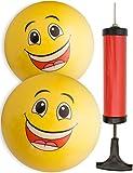HOMETOOLS.EU® - 2x Bade-Ball Smiley | Strand-Ball, Wasser-Ball + Ballpumpe mit 2 verschiedenen Düsen | Bade-Ball 20cm