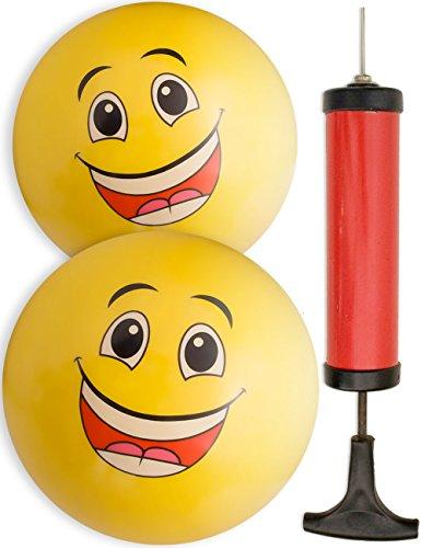 HomeTools.eu® - 2X Bade-Ball Smiley, Strand-Ball, Wasser-Ball und Ballpumpe, Gummi-Ball, Smile, 20cm