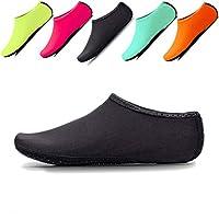 JIASUQI Womens and Mens Comfort Barefoot Quick-Dry Water Shoes Aqua Socks for Beach Pool Surf Gym Black UK 6/7.5, tag XL