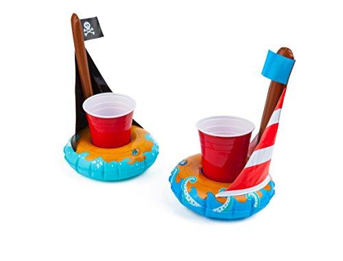Flotadores hinchables Big Cup para piscina de barco BigMouth Inc, paquete de 2 incluye flotadores de barco pirata y velero